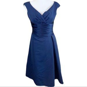 David's Bridal Navy Blue Formal Dress- Size 4